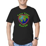 Love Your Earth Heart Men's Fitted T-Shirt (dark)