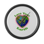 Love Your Earth Heart Large Wall Clock