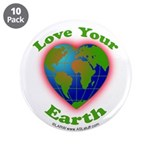 """Love Your Earth Heart 3.5"""" Button (10 pack)"""