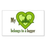 My Heart Belongs to a Logger Sticker (Rectangle)