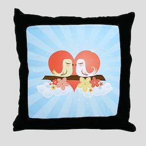 Love Birds Blue - Throw Pillow