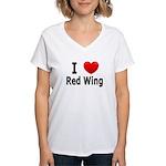 I Love Red Wing Women's V-Neck T-Shirt