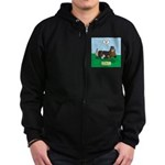 The Ferocious Viking Wiener Dog Zip Hoodie (dark)
