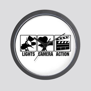 Lights, Camera, Action Wall Clock