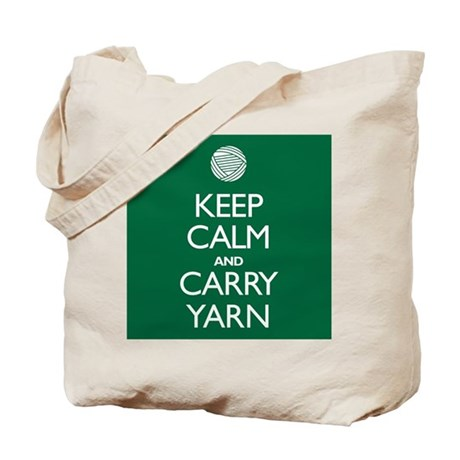 Green Keep Calm and Carry Yarn Tote Bag
