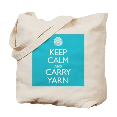 Turquoise Keep Calm and Carry Yarn Tote Bag