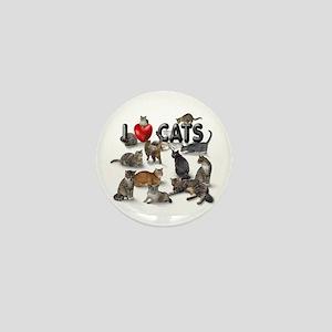 """Mini Button """"I Love Cats"""""""