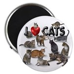 """2.25"""" Magnet (10 pack) """"I Love Cats&quot"""