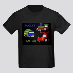 Trains, Trucks and Tractors Kids Dark T-Shirt