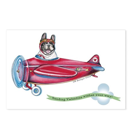 Valentine Airplane (Pied) Postcards (Package of 8)