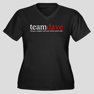 Team Dave Women's Plus Size V-Neck Dark T-Shirt