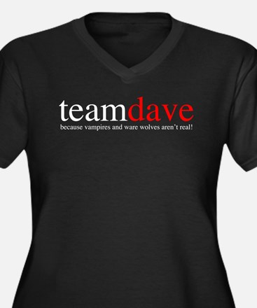 Team Dave Women's Plus Size V-Neck Dark T-Shirt