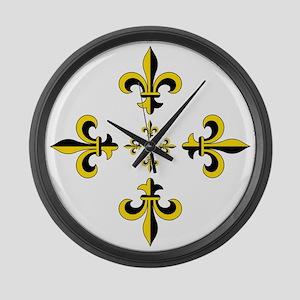 Fleur de Lis Black & Gold Spr Large Wall Clock