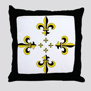 Fleur de Lis Black & Gold Spr Throw Pillow