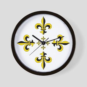 Fleur de Lis Black & Gold Spr Wall Clock