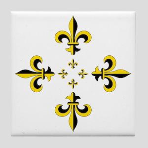 Fleur de Lis Black & Gold Spr Tile Coaster
