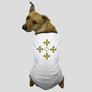 Fleur de Lis Black & Gold Spr Dog T-Shirt