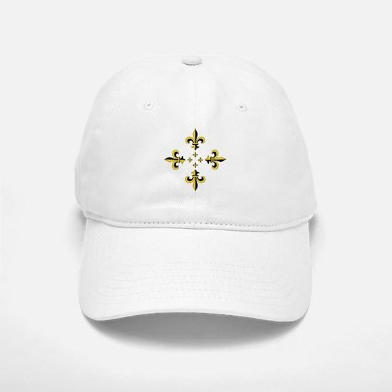 Fleur de Lis Black & Gold Spr Baseball Baseball Cap