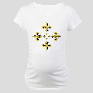 Fleur de Lis Black & Gold Spr Maternity T-Shirt