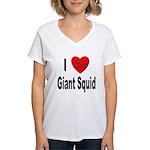 I Love Giant Squid (Front) Women's V-Neck T-Shirt