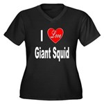 I Love Giant Squid (Front) Women's Plus Size V-Nec