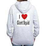 I Love Giant Squid (Back) Women's Zip Hoodie