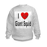 I Love Giant Squid (Front) Kids Sweatshirt