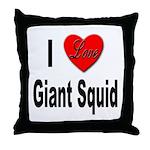 I Love Giant Squid Throw Pillow