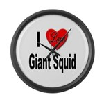 I Love Giant Squid Large Wall Clock