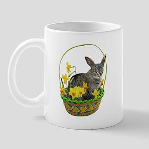 Easter Bunny Cat Daffodils Mug
