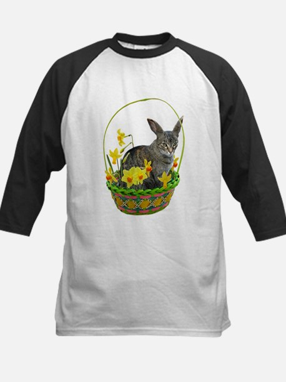 Easter Bunny Cat Daffodils Kids Baseball Jersey