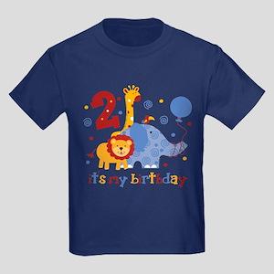 Safari 2nd Birthday Kids Dark T-Shirt