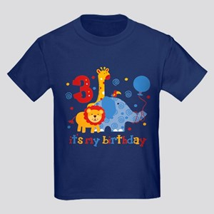 Safari 3rd Birthday Kids Dark T-Shirt