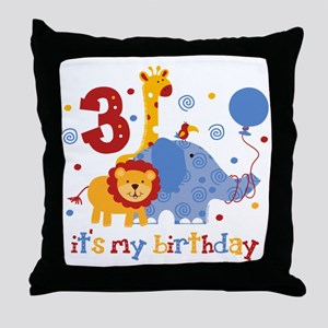 Safari 3rd Birthday Throw Pillow
