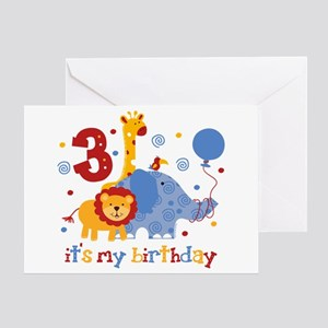 Safari 3rd Birthday Greeting Card