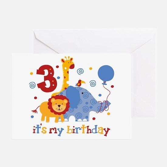 Safari 3rd Birthday Greeting Card