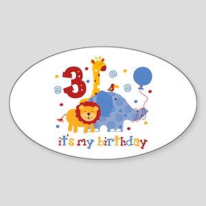 Safari 3rd Birthday Sticker (Oval)