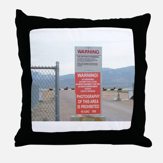 Back Gate Warning Sign Throw Pillow