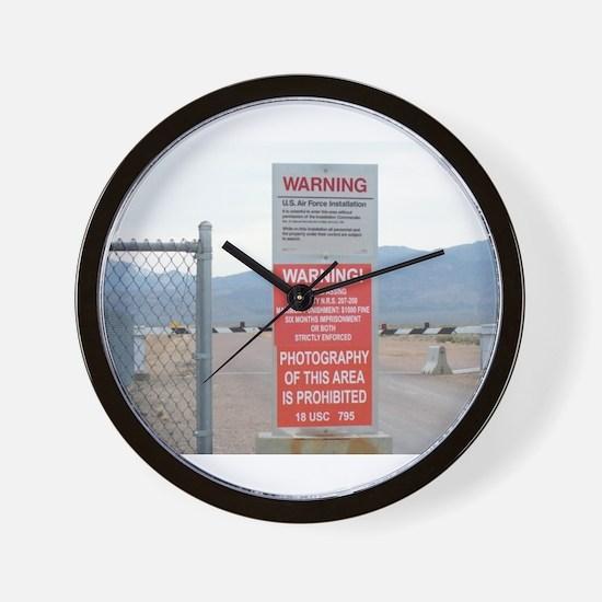 Back Gate Warning Sign Wall Clock