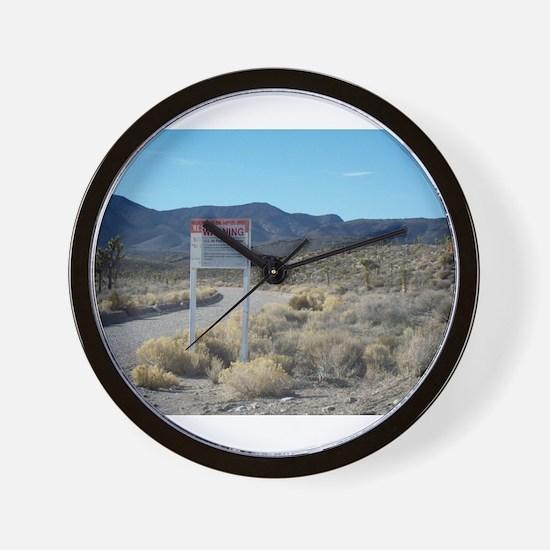 Warning Sign on Groom Lake Ro Wall Clock
