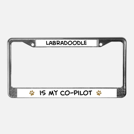 Co-pilot: Labradoodle License Plate Frame