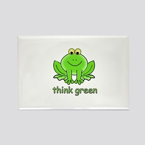 Think Green Frog Rectangle Magnet
