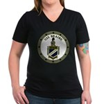 USS BRAINE Women's V-Neck Dark T-Shirt