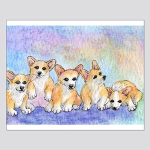 A cuddle of corgis Small Poster