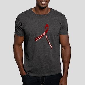 Heart Disease Survivor Ribbon Dark T-Shirt