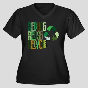Reduce Reuse Recycle Women's Plus Size V-Neck Dark