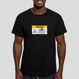 Funny Bacon Warning Men's Fitted T-Shirt (dark)