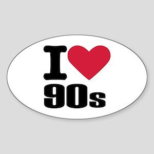 I love 90's Sticker (Oval)