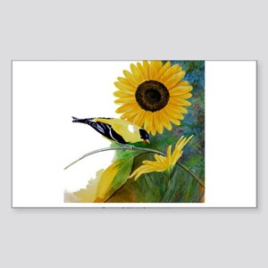 Goldfinch and Sunflower Sticker (Rectangle)
