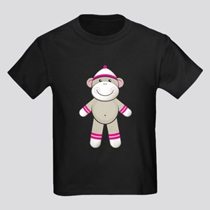 Pink Sock Monkey Kids Dark T-Shirt
